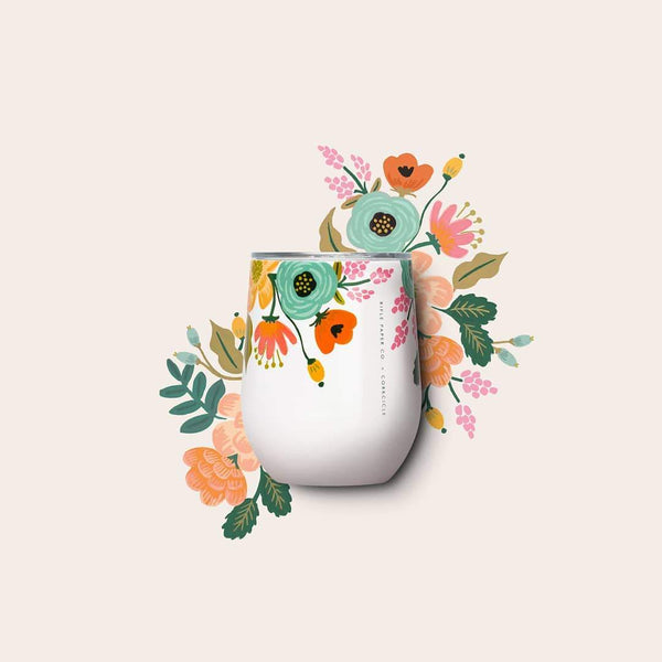 Corkcicle x Rifle Paper Co. Stemless 12oz Lively Floral Cream