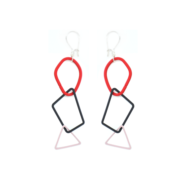 Penny Foggo Earrings Shapes Red Black Pink