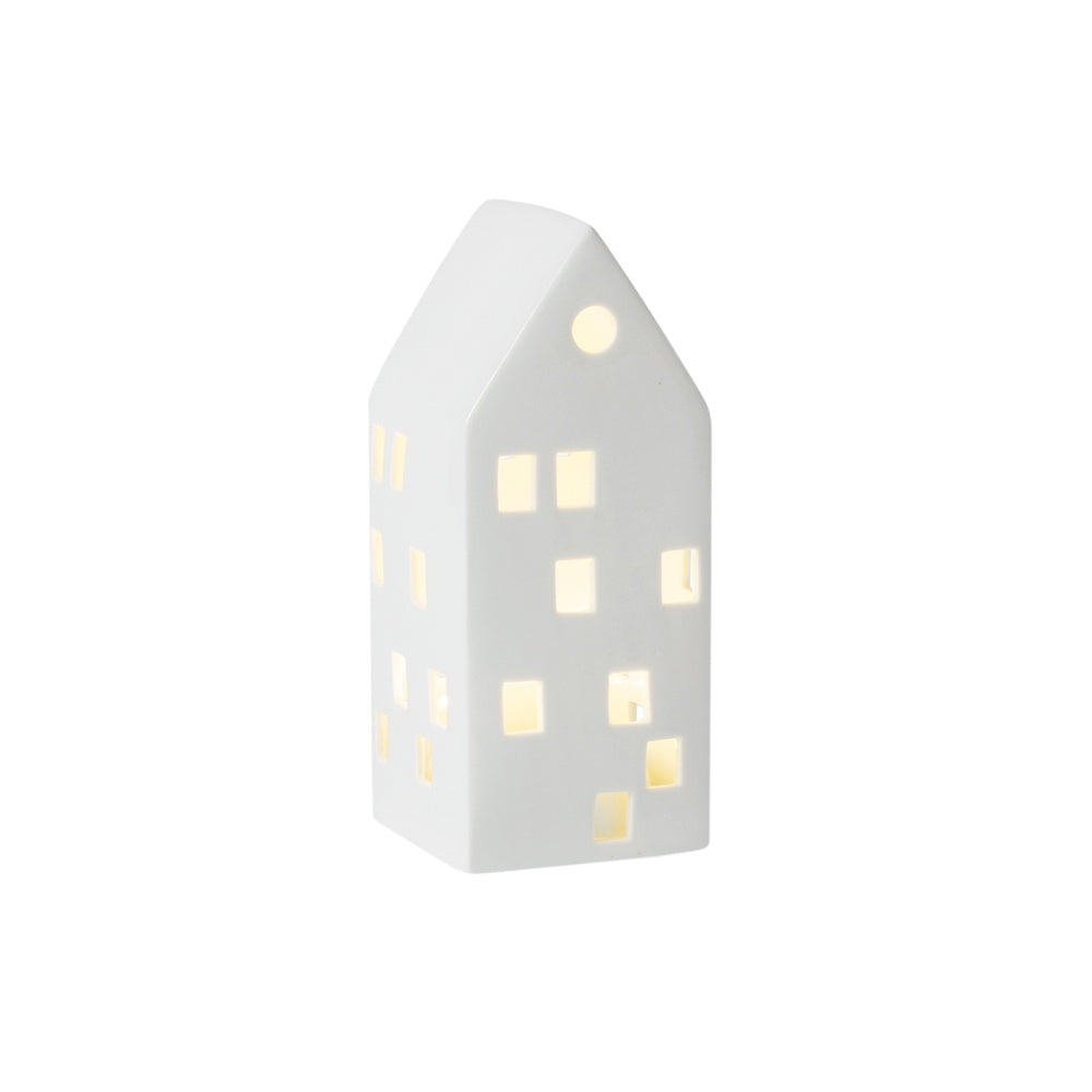 Citta Glazed Porcelain House LED Light White Medium