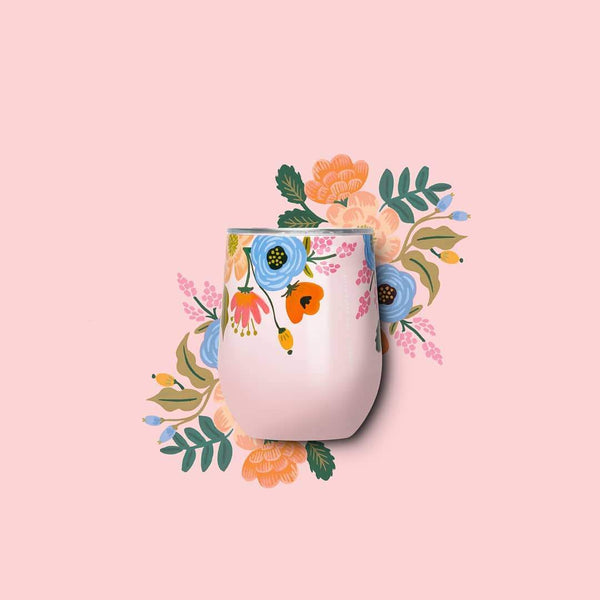Corkcicle x Rifle Paper Co. Stemless 12oz Lively Floral Blush