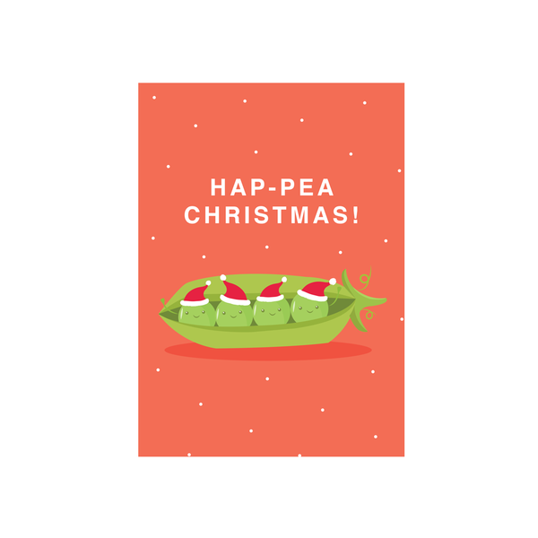 Iko Iko Christmas Card Cutie Food Pun Pea