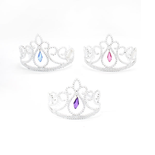 Plastic Tiara Crown Silver with Hanging Jewel Assorted