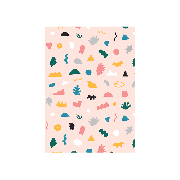 Iko Iko Abstract Card Shapes and Squiggles Baby Pink