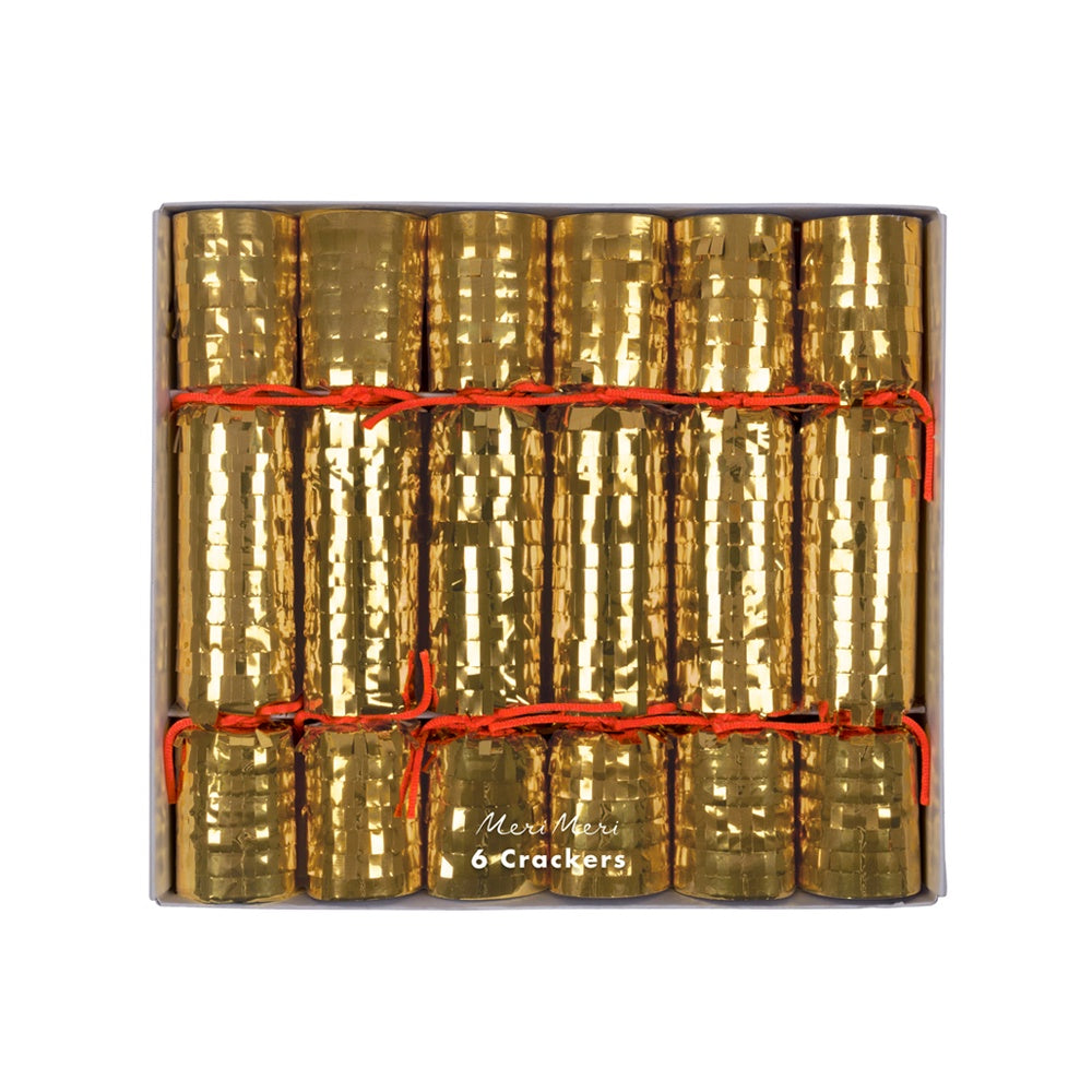 Meri Meri Christmas Crackers Pack of 6 Gold Fringed