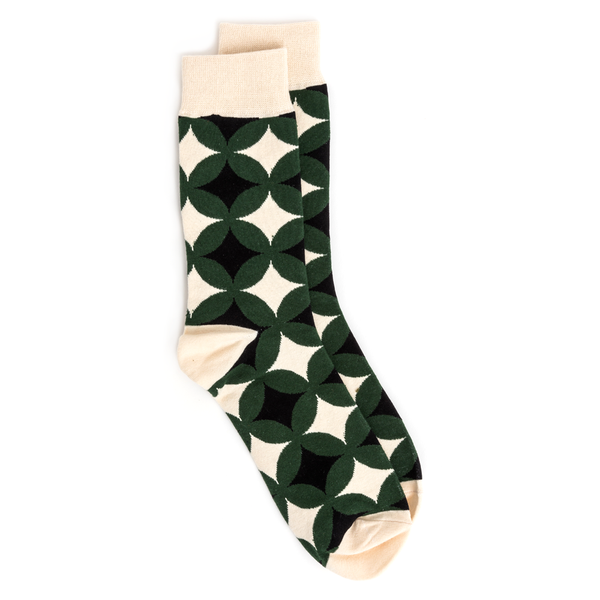 Stella + Gemma Socks Geometric Pattern Circles Green
