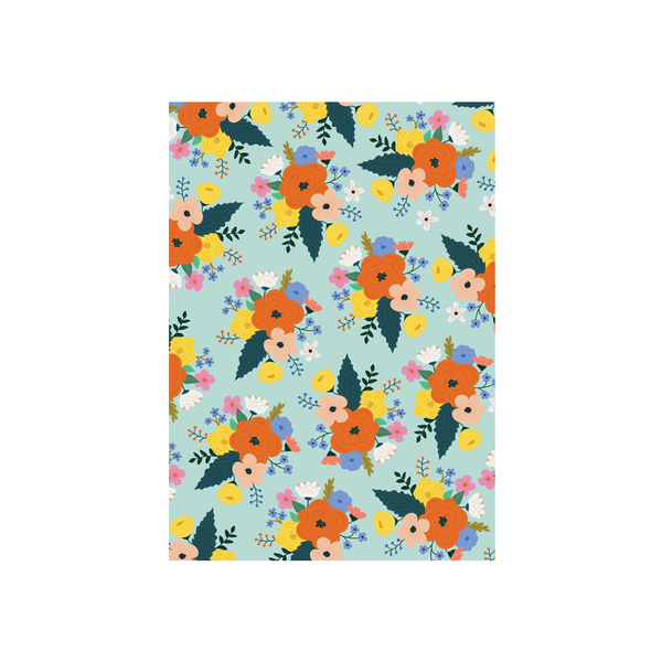 Iko Iko Floral Card Bright Bloom Mint with Orange Flower