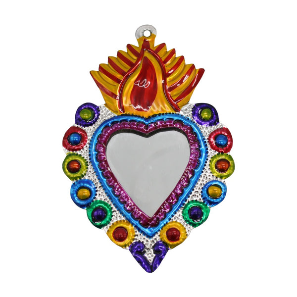 Mexican Tin Heart Mirror Small