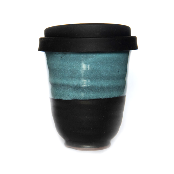 Westcoast Stoneware 8oz Reusable Cup Tangaroa Midnight Black and Blue