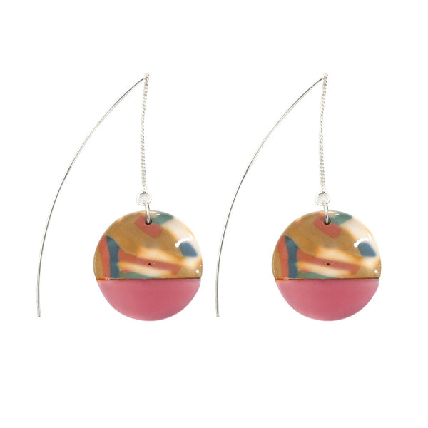 Penny Foggo Earrings Bright Tortoiseshell Half Pink Threads