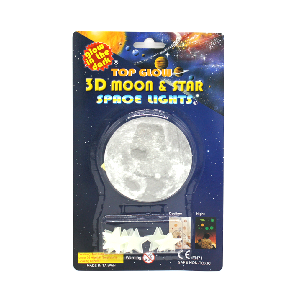 Glow in the Dark 3d Moon and stars Stickers