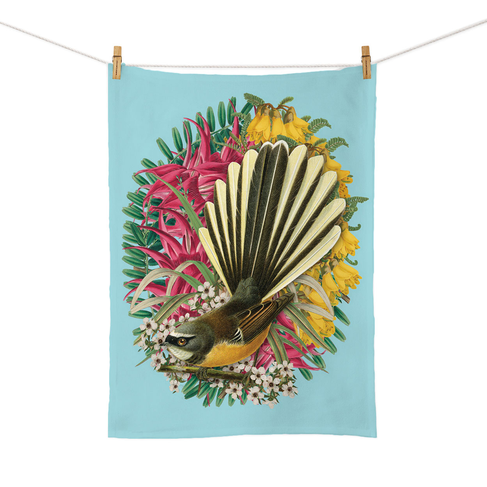 New Zealand Retro Tea Towel Botanical Fantail