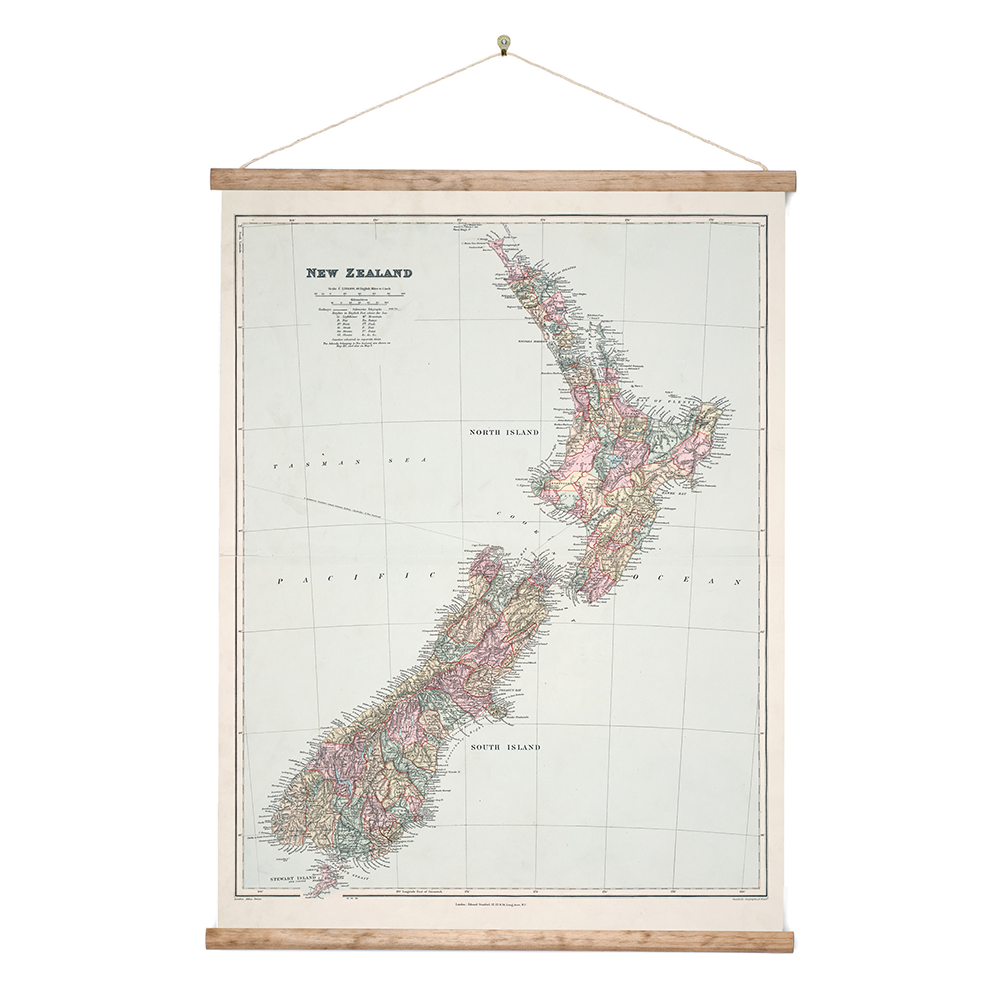 Detailed Map Of New Zealand.New Zealand Retro Wall Chart Map Of Nz