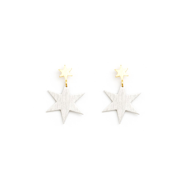 Stella + Gemma Earrings 2 Stars Gold Silver