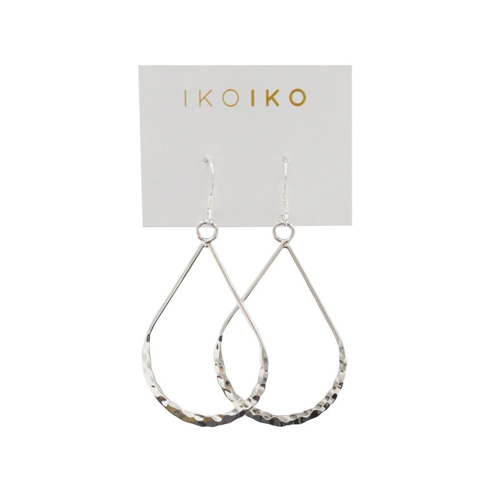 Iko Iko Earrings Large open Hammered Teardrops Silver