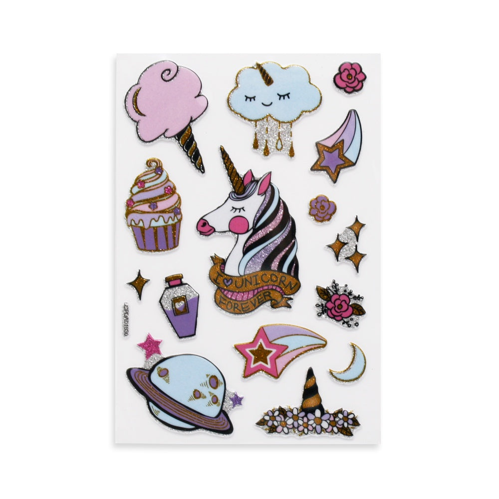 Golden Unicorn Puff Stickers