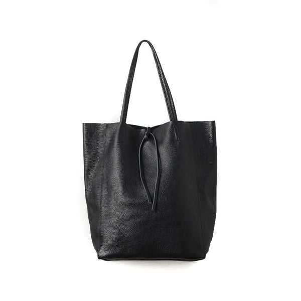 Citta Florence Leather Tote Bag Black
