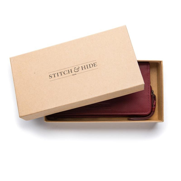 Stitch & Hide Leather Slimline Wallet Penni Cherry