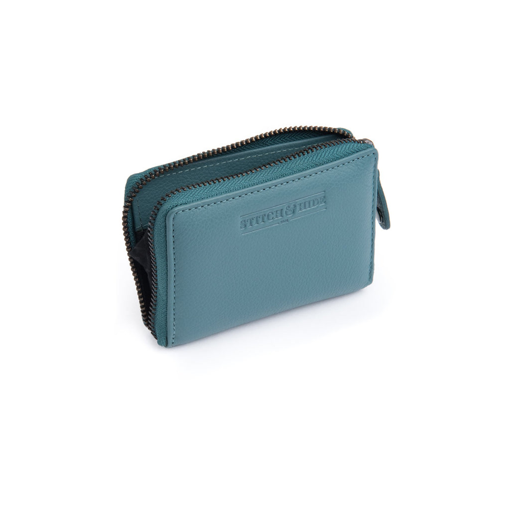 Stitch & Hide Leather Card Wallet Hunter Teal