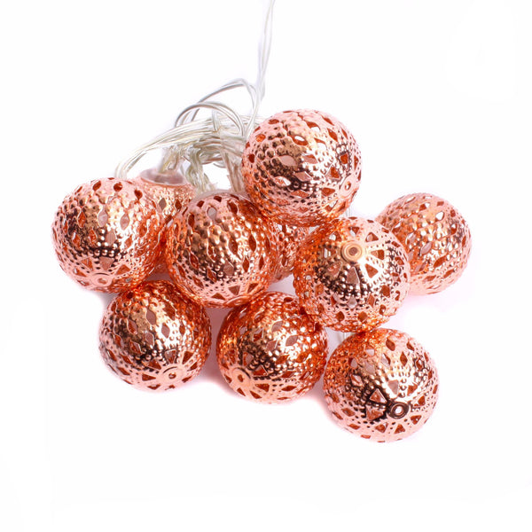 LED Moroccan Mini ball Light String 1.2m Copper