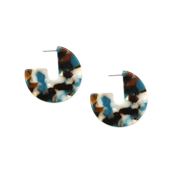Fun Times Earrings Resin Disc Multi Colour