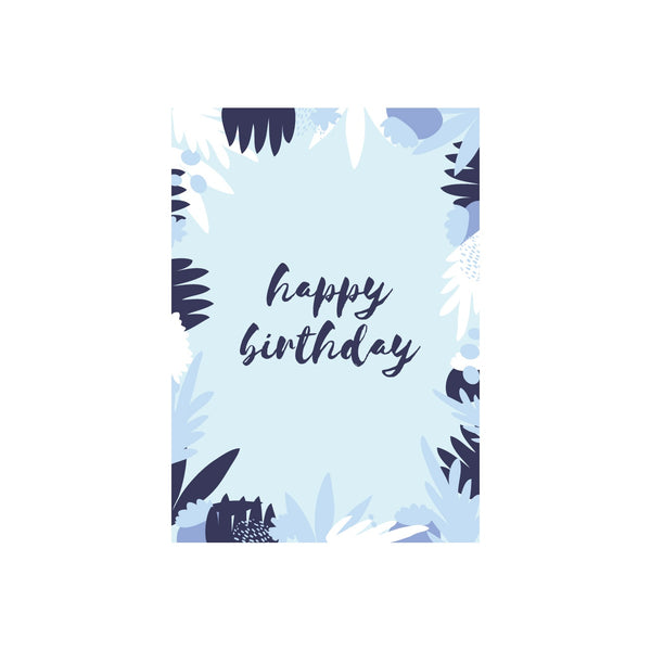 Iko Iko Floral Message Card Happy Birthday Blue