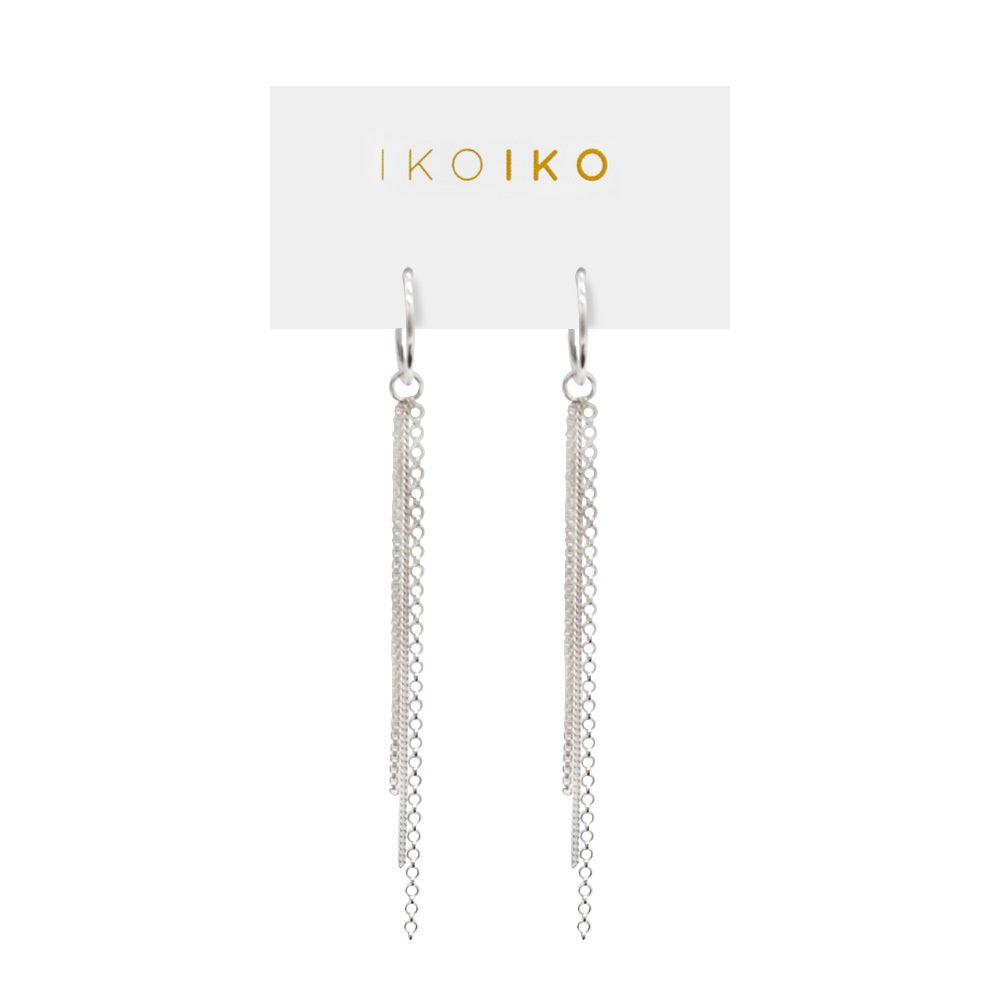Iko Iko Earrings Small Hoop with Chains Silver