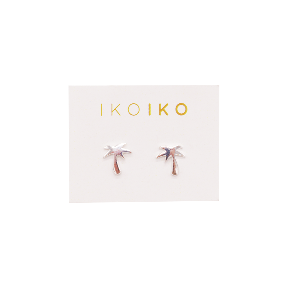 Iko Iko Studs Palm Tree Silver