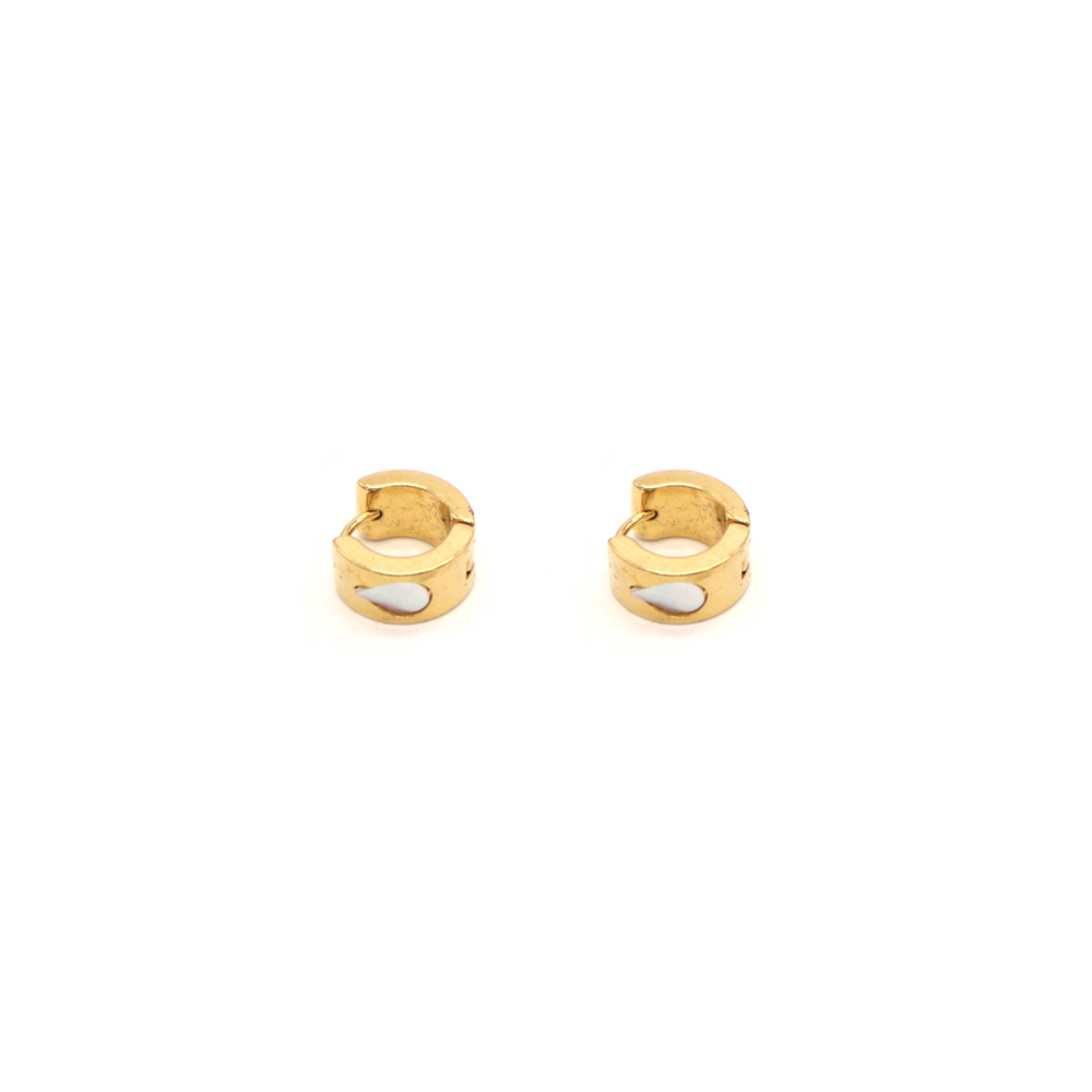 Penny Foggo Earrings Huggie Hoops Shell Teardrop Gold