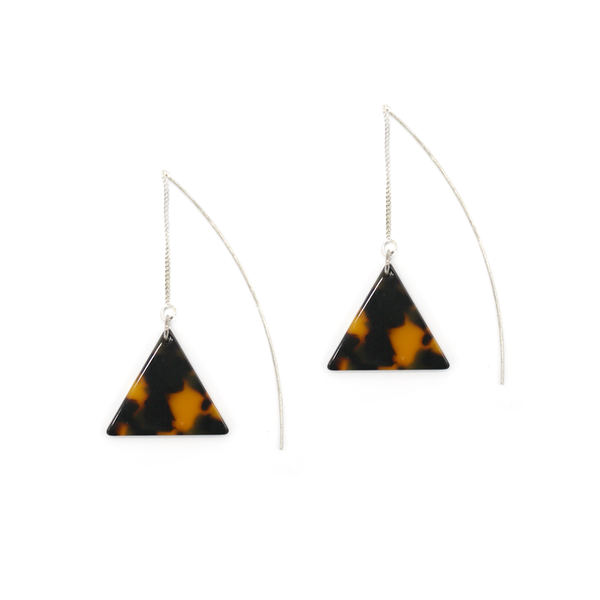 Penny Foggo Earrings Dark Tortoiseshell Triangle Silver Threads