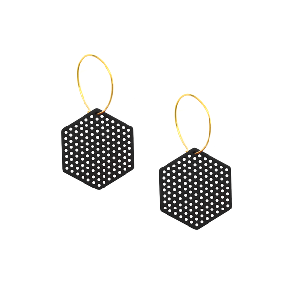 Penny Foggo Earrings Hexagons Black
