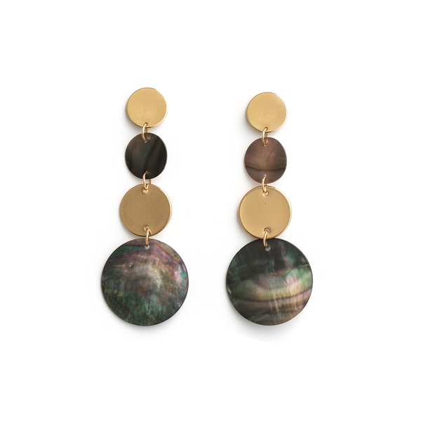 Stella + Gemma Earrings Mother of Pearl and Gold Discs