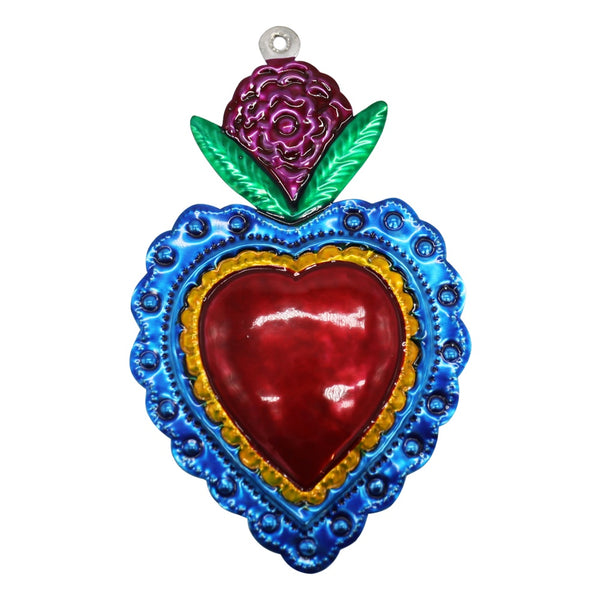 Mexican Tin Heart with Flower Small