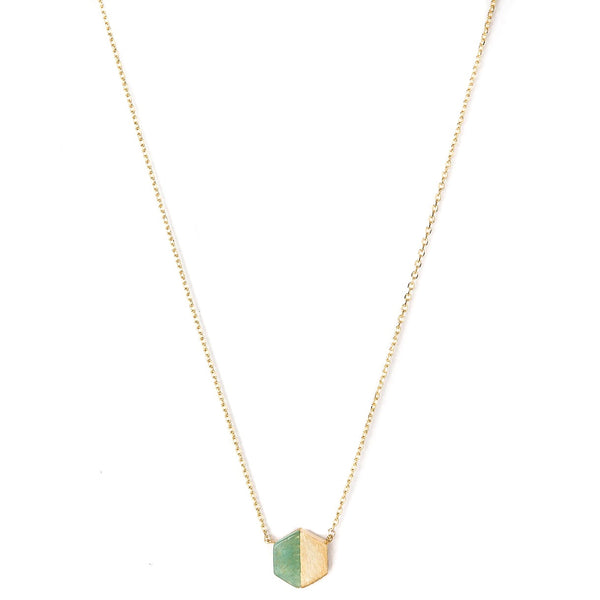 Stella + Gemma Necklace Hexagon Crystolite Gold
