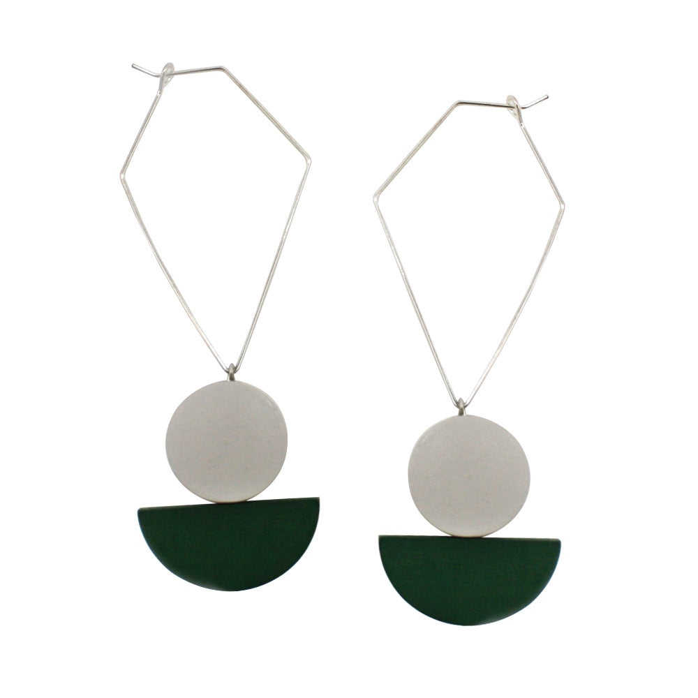 Penny Foggo Earrings Wood Drops Green
