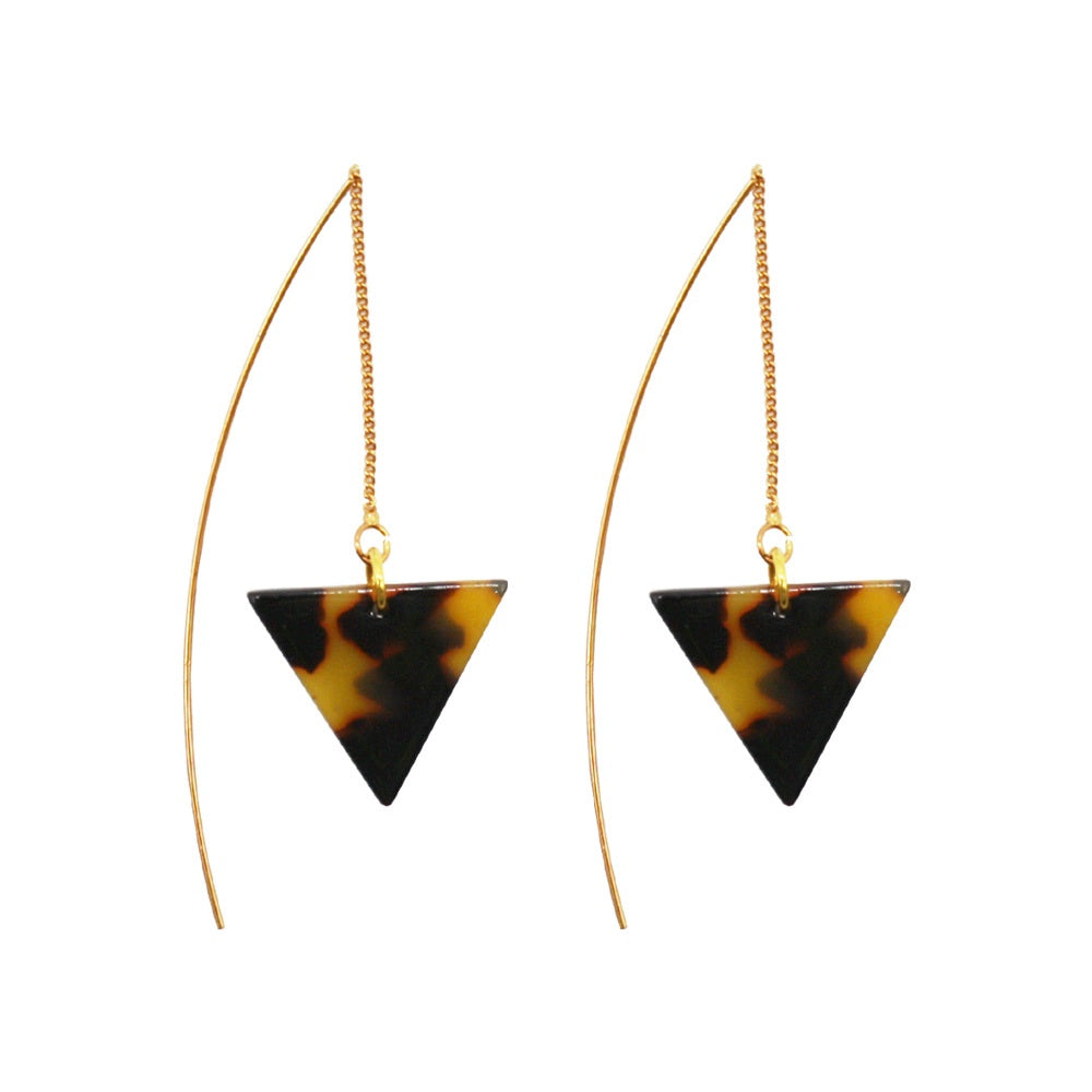 Penny Foggo Earrings Tortoiseshell Gold Threads Triangle