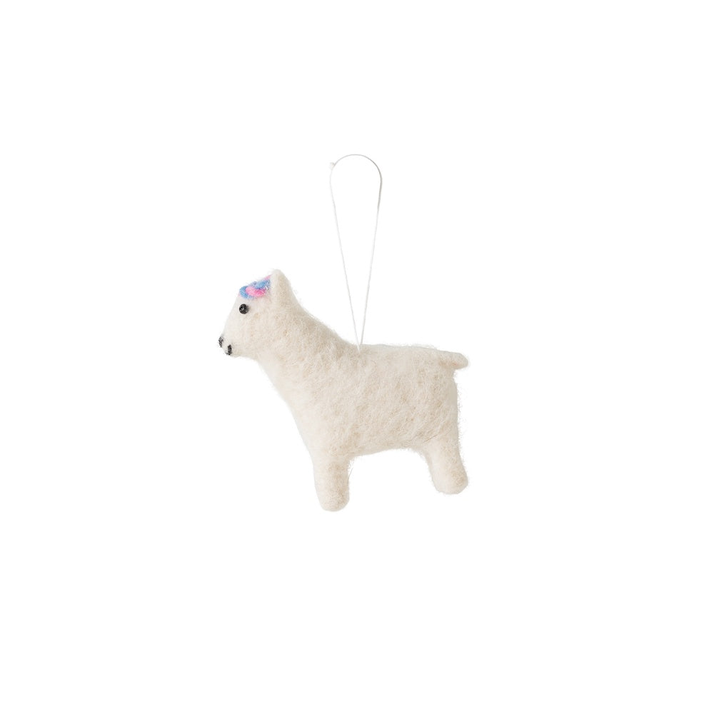 Citta Woollen Alpaca Hanging Decoration White