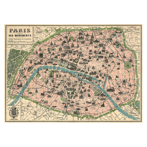 Cavallini Paris Map Poster
