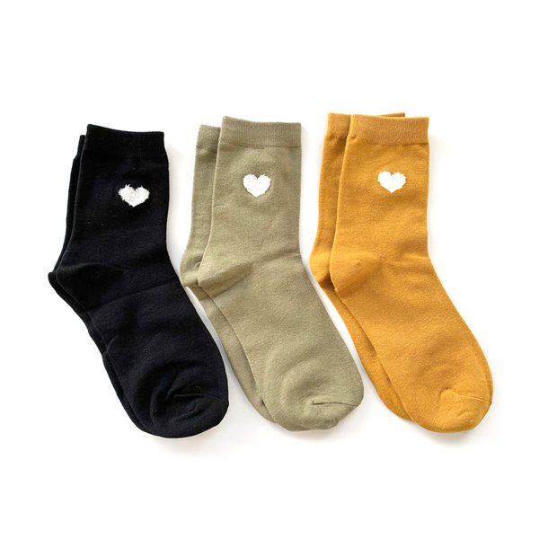 Stella + Gemma Socks Heart Pack of 3 Mustard Mint Black