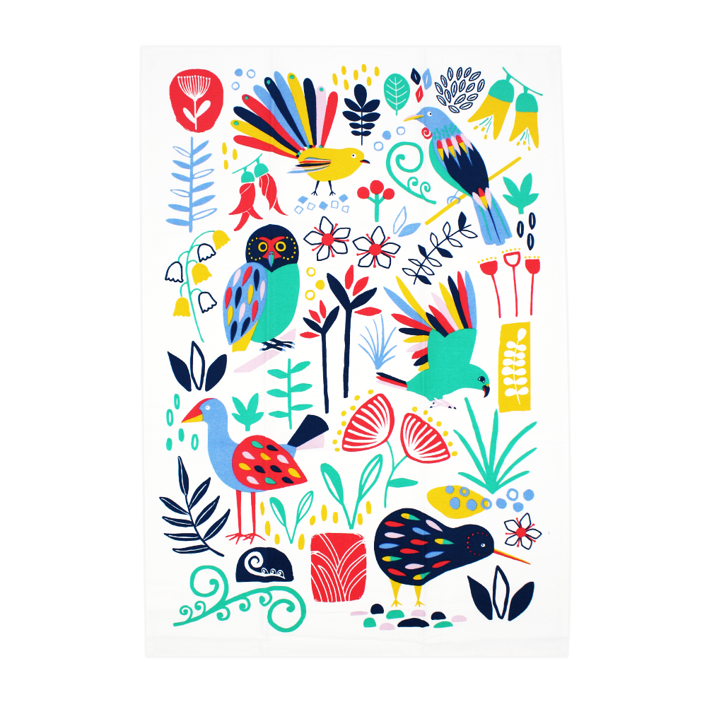 New Zealand Tea Towel Flora and Fauna Colourful