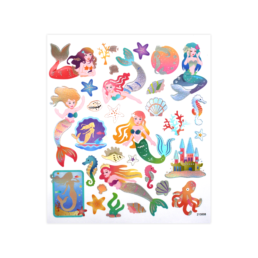 Silver Foil Mermaid Stickers