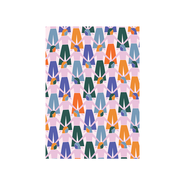 Iko Iko Abstract Card Hand in Hand Forest Green Orange Purple
