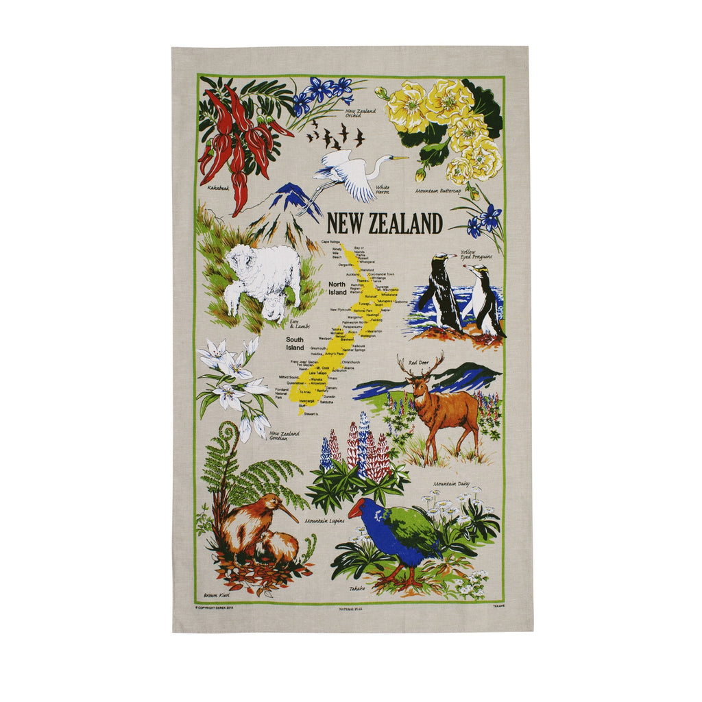 Natural Flax Tea Towel Takahe
