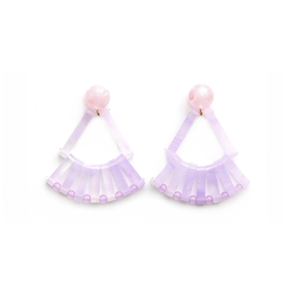 Stella + Gemma Earrings Resin Fans Lilac