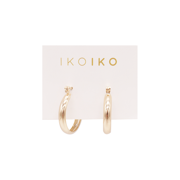 Iko Iko Earrings Hoop with Clasp Gold