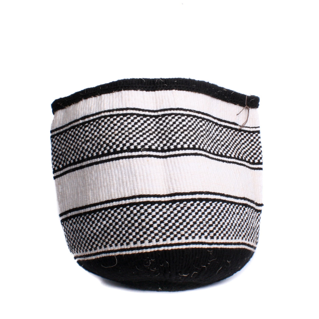 Maka Emali Hand Woven Basket B&W Check Stripe Design 1