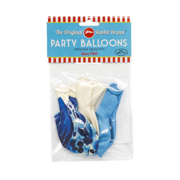 Marble Metallic Balloons Blue Pack of 6