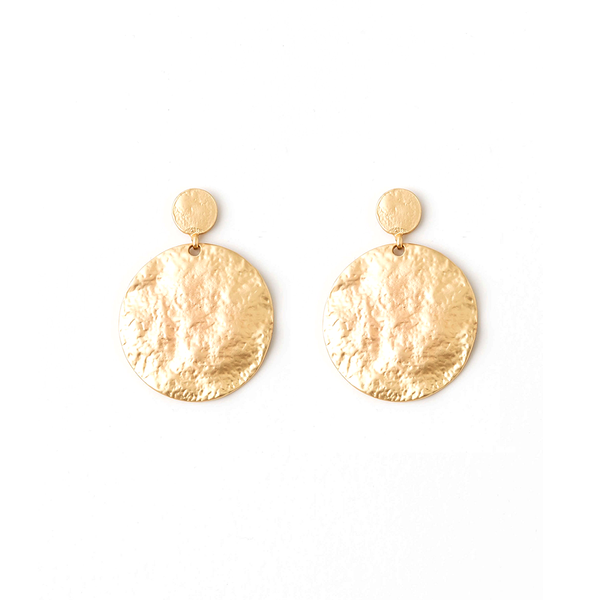 Stella + Gemma Earrings Stacked Circles Brushed Brass