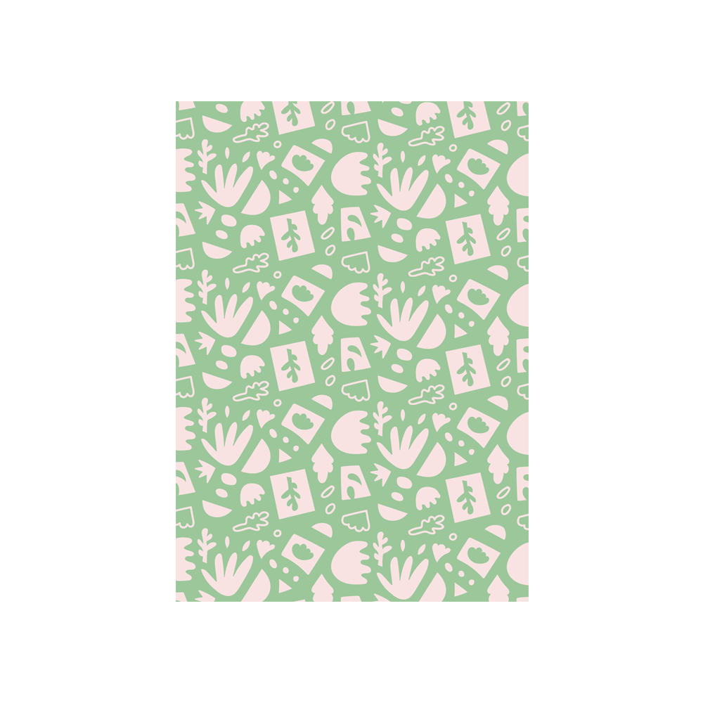Iko Iko Abstract Card Leaf Green Pink