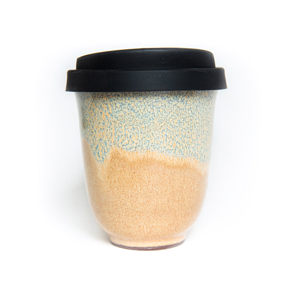 Westcoast Stoneware 8oz Reusable Cup Matakana  Washout Blue and Beige