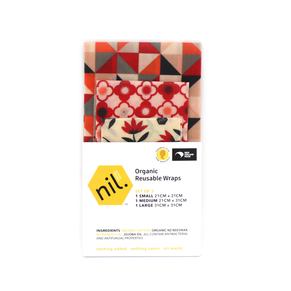 Nil Organic Beeswax Food Wraps Mixed Pack of 3 Red